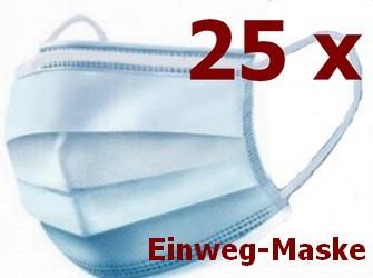 25 Stück Einweg-Gesichtsmaske 3-lagig Mundschutz Staubschutz Infektionsschutz Schutzmaske Atemschutzmaske mit Ohrschlaufen