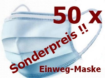 50 Einweg-Gesichtsmaske 3-lagig Mundschutz Staubschutz Infektionsschutz Schutzmaske Atemschutzmaske SONDERPREIS!!