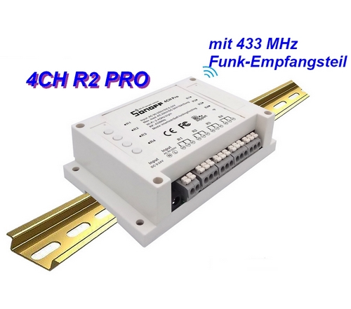 BU-4CH R2 PRO von Sonoff 4-Kanal WiFi Schalter mit Funkempfänger-Modul B-Ware