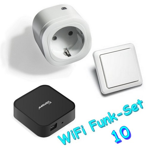 WiFi-Set10 Funkset-Intertechno-Funksteckdose IT-3000 mit Funk-Wandsender YWT-8500 und RF-Bridge