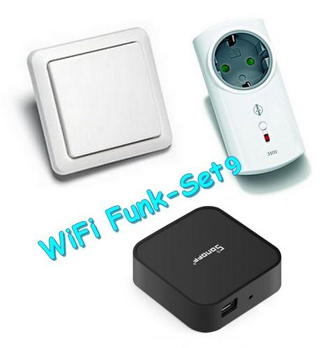 WiFi-Set9 Sparset ITLR-3500-W - Intertechno-Funksteckdose ITLR-3500 mit Funk-Wandsender YWT-8500 und RF-Bridge