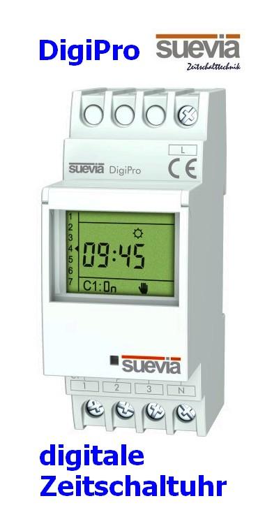 DigiPro digitale Zeitschaltuhr, 1 Kanal für Hutschienen von Suevia