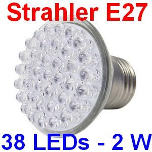 Eaxus LED Hochvoltstrahler Spot 230 V, E27, mit 38 LEDs, 2 Watt, hellweiß